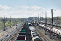 Many long freight trains at railway station Stock Photography