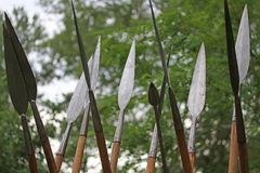 Many Long pointy spear skyward. Ancient Long pointy spear skyward royalty free stock photos