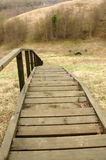 Many long wooden stairs down view  Royalty Free Stock Photos