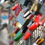 Many Love locks on the bridge, Bernatka, krakow Stock Photo