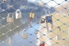 Many Love locks on the bridge in Salzburg Stock Images