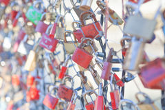Many Love locks on the bridge in Salzburg Royalty Free Stock Photography