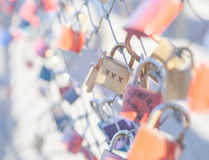 Many Love locks on the bridge in Salzburg Royalty Free Stock Image