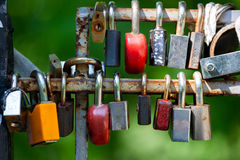 Many Love locks on the bridge. Stock Images
