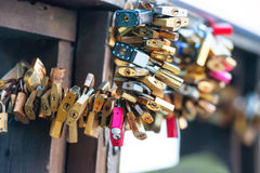 Many love locks Royalty Free Stock Photo
