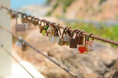 Many Love locks on fence. Symbol of eternal love, friendship and romance Royalty Free Stock Photography
