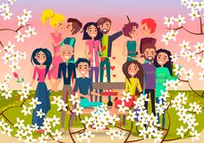 Many Loving Couples in Spring Flowering Square. Vector illustration. Young people gives presents, makes selfie, looks into each other s eyes Royalty Free Stock Photos