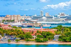 Many Luxury Cruise Ships in San Juan. Harbor in San Juan Puerto Rico with many luxury cruise ships large and small stock photo
