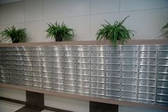 Many mail boxes in the lobby royalty free stock photos