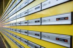 Many mailboxes in a row. Many yellow mailboxes in a row Stock Photography