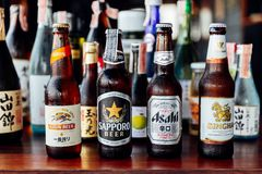 Many major and minor brands of Japanese liquors are including beer, sake, spirits and umeshu in Japanese restaurant.  royalty free stock photography