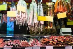 Many meat at the european  market Stock Photo