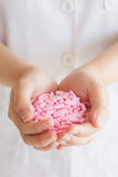 Many medicine pills in doctor hands Royalty Free Stock Images