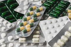 Many medicine pills and tablets Royalty Free Stock Image