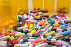 Many medicines pills capsules Royalty Free Stock Photography