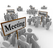 Many Meeting People Groups Gathering Around Different Signs Stock Image