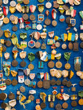 Many memorial coins on blue background Royalty Free Stock Photo