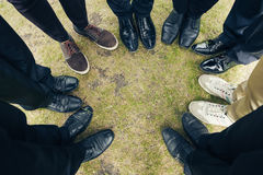 Many men of different shoes. top view photo Royalty Free Stock Photography