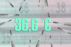 Many mercury thermometers and bodys temperature. 36,6 C in green Stock Image