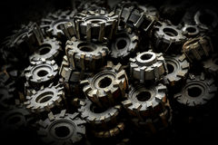 Many metal cog gears Royalty Free Stock Photo