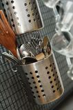 Many metal kitchen utensil. Backgrounds Royalty Free Stock Photos