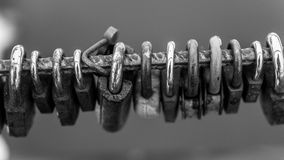 Many Metal Padlocks Black and White Abstract Stock Photos