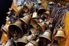 Many metal sacrificial bells Stock Photo