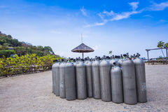Many of Metal scuba diving oxygen tanks Royalty Free Stock Images