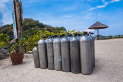Many of Metal scuba diving oxygen tanks Royalty Free Stock Photos