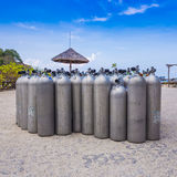 Many of Metal scuba diving oxygen tanks Stock Image