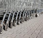 Many metalic shopping trolley. Outdoors Royalty Free Stock Photo