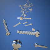 Many metallic screws Royalty Free Stock Photography