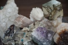 Many minerals, quartz and pyrite cubes Royalty Free Stock Photo