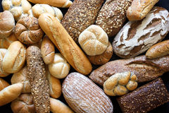 Many mixed breads and rolls. Shot from above Royalty Free Stock Photos