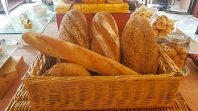 Many mixed breads and rolls shot from above. stock photography