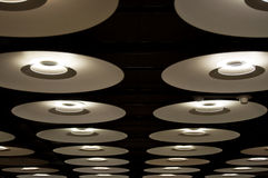 Many modern lamps in Barajas airport Stock Images
