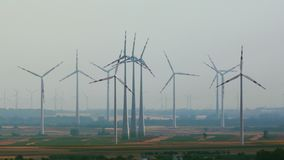 Wind tubines in the distance stock footage