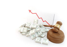 Many Money for auction with business chart Stock Photos