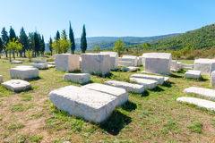 Many monumental medieval tombstones lie scattered in Herzegovina Royalty Free Stock Photography