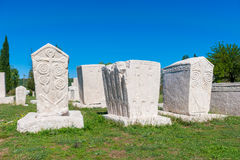 Many monumental medieval tombstones lie scattered in Herzegovina Stock Photography