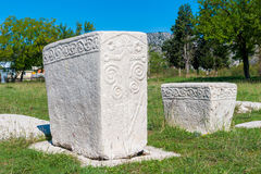 Many monumental medieval tombstones lie scattered in Herzegovina. Many monumental medieval tombstones lie scattered in Stolac, Herzegovina. These tombstones are Royalty Free Stock Photos