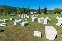 Many monumental medieval tombstones lie scattered in Herzegovina Stock Images