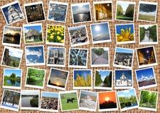 Many motley photos on the sacking Stock Photos