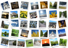 Many motley photos on the white background Stock Photography