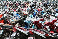 Many motorbikes Stock Photography