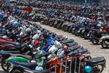 Many motorbikes at the parking Stock Image