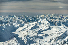 Many mountain peaks and summits. In austria at winter Royalty Free Stock Photography