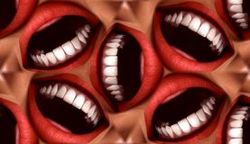 Many Mouths Seamless Tile Pattern Background 3. A seamless tile pattern background made out of funny smiling mouths Stock Photos