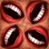 Many Mouths Seamless Tile Pattern Background 3. A seamless tile pattern background made out of funny smiling mouths Royalty Free Stock Photography