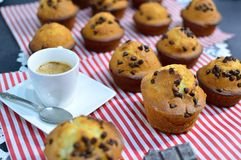 Many muffins with chocolate drops. Some freshly baked muffins on a Sunday afternoon for all my guests Royalty Free Stock Photography